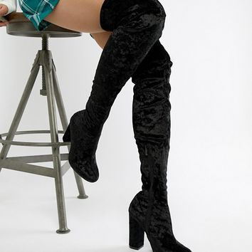 Truffle Collection Crushed Velvet Over The Knee Boot at asos.com