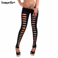Women Hole Leggings Candy Color Skinny Ripped Hole Cut Out Leggings Pants Slim Stretch Trousers Legging Black/White/Pink Color