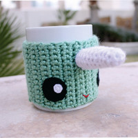 Narwhal Coffee Mug Tea Cup Cozy: Marine Aquatic Unicorn of the Sea Crochet Knit Sleeve