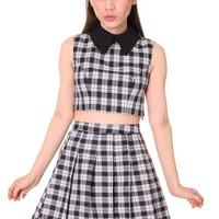 Glitters For Dinner — Made To Order - As If Sleeveless Set in Black Checkered