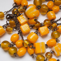 Vintage Yellow and White Wire Beaded Flapper Necklace