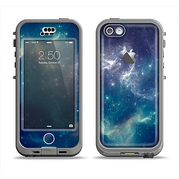 The Subtle Blue and Green Nebula Apple iPhone 5c LifeProof Nuud Case Skin Set