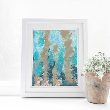 Ocean Underwater Abstract Modern Painting Wall Art Print or Canvas