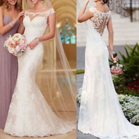 Sheer Neck Long Ivory Wedding Dress Bridal Dress Custom Size 2 4 6 8 10 12 14 16