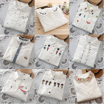 2017 New fashion cartoon Embroidered collar color white cotton long sleeve shirt women blouse ladies floral office OL shirts