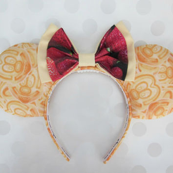 Mickey Waffles Mouse Ears Headband, Custom Ears, Exclusive Fabric Design