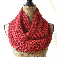 Infinity Scarf Cranberry Dark Red Chunky Scarf Fall Winter Women's Accessory Ready To Ship