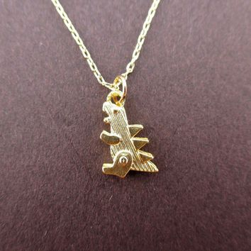Godzilla Dinosaur Shaped Pendant Necklace in Gold | DOTOLY