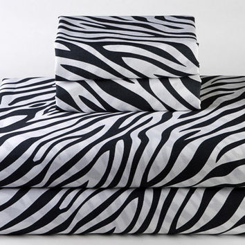 Black and White Zebra Print Sheet Sets - Cool College Dorm Decor - Animal Bedding by Sin in Linen