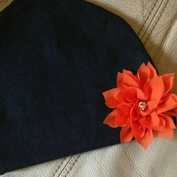 Black Hat and Orange Flower with Rhinestone. Fits 0-6 Months! Cute for Halloween. Great Gift