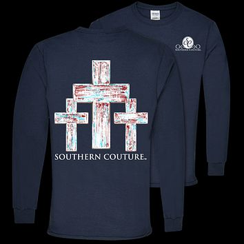 Southern Couture Preppy Distressed Crosses Faith Long Sleeve T-Shirt
