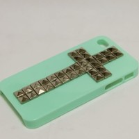 Studded Cross Iphone 4 Case Ultra Thin Mint Green with Sliver Pyramid Studs Stud Cool