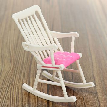 1 Pcs Mini Doll Rocking Chair Accessories For Doll House Room Dollhouse Decoration