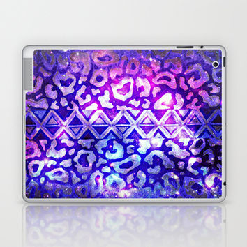 TRIBAL LEOPARD GALAXY Animal Print Aztec Native Pattern Geometric Purple Blue Ombre Space Galactic Laptop & iPad Skin by EbiEmporium