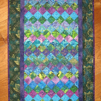 Art Quilt Purple, Green and Turquoise Wall Hanging Fabric Handmade