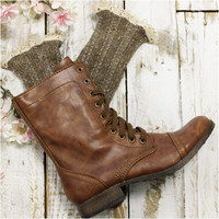 MISS TORI  lace boot socks - brown