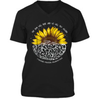 The Sun Will Rise And We Will Try Again Mental Health  Mens Printed V-Neck T