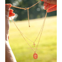 Cross Over Oval Pendant Layered Necklaces