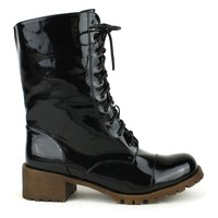 Fahrenheit Martin-07 Lace Up Combat Boot in Black @ ippolitan.com