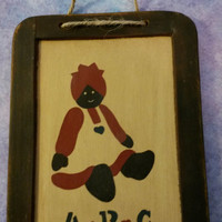Country/Primitive Folk Art Decorative Slate/Chalkboard With A Mammy and the Letters A B C With Small Painted Hearts