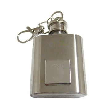 Silver Toned Etched Square Acorn Pendant 1 Oz. Stainless Steel Key Chain Flask