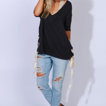 All Together Lace Up Tunic Black