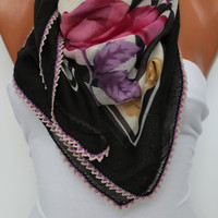 Anatolian Yemeni Shawl Scarf - Oya - Yemeni - Cowl Headband Necklace - Floral-Multicolor - Crocheted edge- New