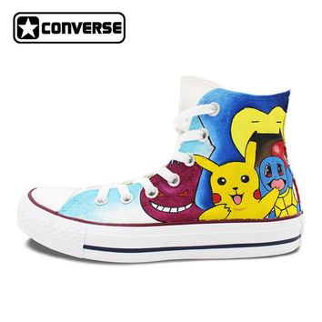 Pokemon Go Man Woman Converse All Star Shoes Hand Painted Shoes Women Men Sneakers High Top Skateboarding Shoes Boys Girls Gifts