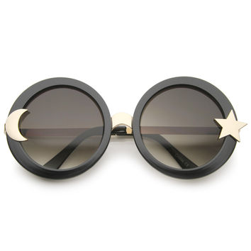 Women's Oversize Moon And Star Round Sunglasses A331