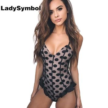 LadySymbol Pink Sexy Ruffle Bodysuit Women Summer Jumpsuits Romper V Neck Dot Straps Beach Overalls Womens Sexy Party Bodysuits