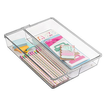 """mDesign Expandable Desk Drawer Organizer for Office Supplies, Pencils, Pens, Scissors, Tape - 12"""" x 6"""" x 2.5"""", Clear"""