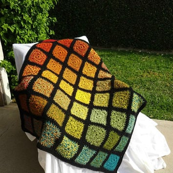 Rainbow Blanket, Crochet Throw, Granny Square Afghan, Warm Wrap, Sofa Throw, Loveseat Coverlet, Heavy Blanket Wrap, Double Thick Blanket