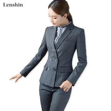 Lenshin 2 Pieces Set High Quality Gray Soft Striped Pant Suits Office Lady Formal Business Uniform Style Women Work Wear