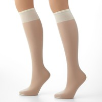 Hanes Plus Silk Reflections Silky Sheer Knee-High Pantyhose, Size: One