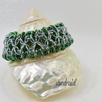 Beaded Chainmail Jewelry, Green and Silver Rondo al a Byzantine Anodized Aluminum Chainmaille Bracelet, Wide Cuff Bracelet