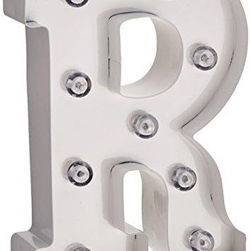 Darice Metal Letter R Marquee Light Up, White