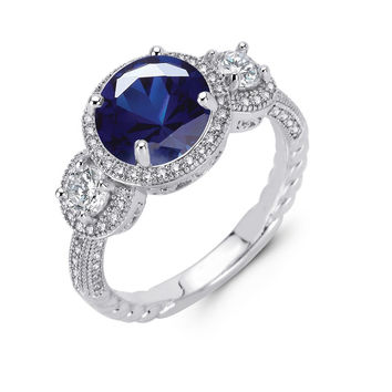 Sterling silver bonded with platinum 3 stone round brilliant lab grown sapphire wedding ring and simulated diamonds by swarovski.  ZR-0231SP