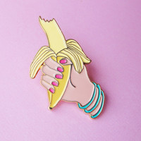 BANANA PIN - Banana Enamel pin - Kitsch sexy banana brooch - Banana pin - Banana lapel pins - Tropical pin - exotic pin - banana Jewelry