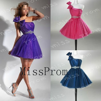 A-lineOne-shoulder Bow Peplum With Sequins And Beads Mini Organza Ruffle Cocktail Dresses