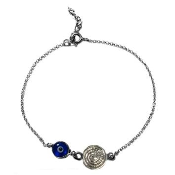 "SpiraTheme Double Sided Evil Eye Adjustable Necklace In Sterling Silver, 17"" to 18"""