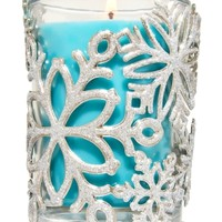 Medium Candle Sleeve Sparkling Snowflakes