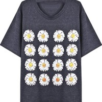 Sheinside Short Sleeve Chrysanthemum Print T-Shirt