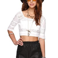 Billabong Sunset Faire Cropped Top - Womens Shirts - White - Large