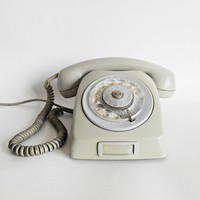 Vintage rotary gray telephone, Vintage telephone, Rotary phone, Vintage grey telephone, Gray phone, Gray retro home decor
