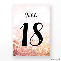 "5x7"" - Printable table numbers 1-40, wedding table numbers, pink & gold wedding, rose gold wedding table numbers, diy decor -wed009 Olivia"