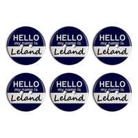 Leland Hello My Name Is Plastic Resin Button Set of 6