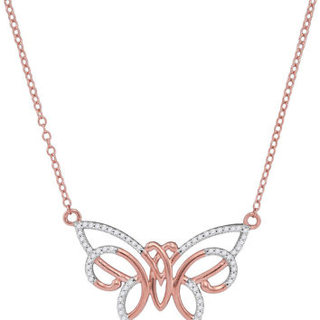 10kt Rose Gold Womens Round Natural Diamond Butterfly Bug Fashion Necklace 1/5 Cttw