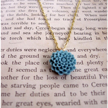 The Lenora Rustic Blue Delicate Flower Necklace by sodalex on Etsy
