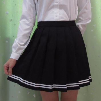 Japanese high school student girl cute kawaii classical pleated skirt Macaron color cosplay high waist school uniform skirt