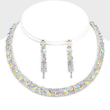 "15"" ab silver crystal prom bridal bib choker necklace 1.75"" earrings"